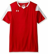 Under Armour Boys Large Red and White Maquina Soccer Jersey 1270940 New  - $13.85
