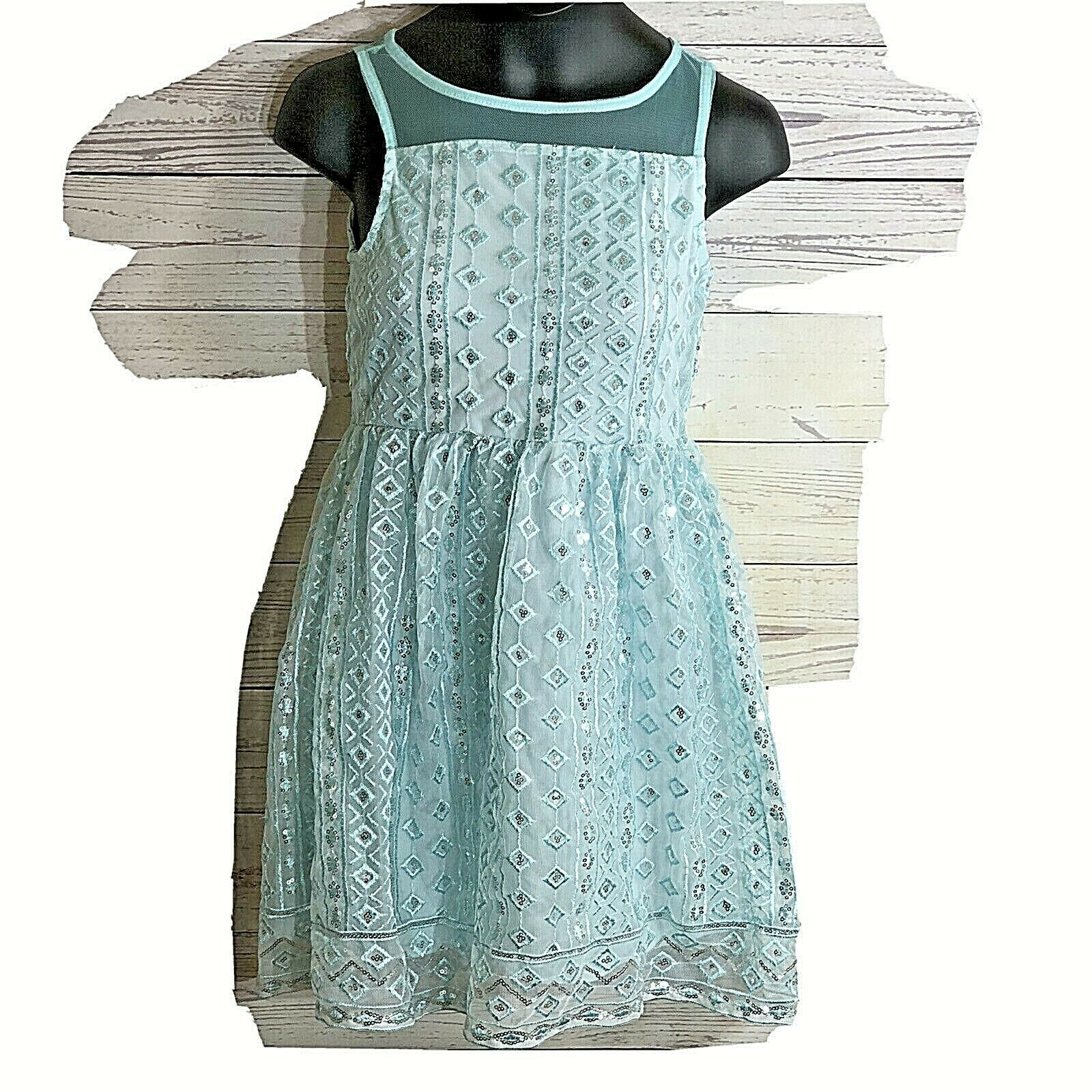 Primary image for Justice Girls Size 7 Dress Mint green with sequin Over lay Lined sleeveless