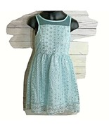 Justice Girls Size 7 Dress Mint green with sequin Over lay Lined sleeveless - $16.82