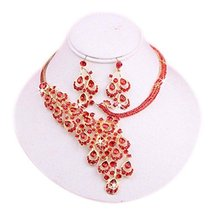 Glamorous Wedding Necklace and Earrings Jewelry Set for Bride Beautiful RED Bead
