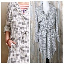 Anthropologie S Cartonnier Blue Diamond Printed Sightseer Trench Shirt D... - $47.32