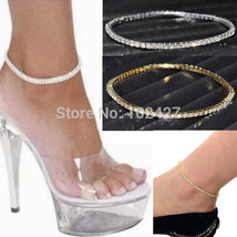 Anklets, One Row Clear Crystal Tennis Gold Plated Stretch Bracelet For A... - $8.99