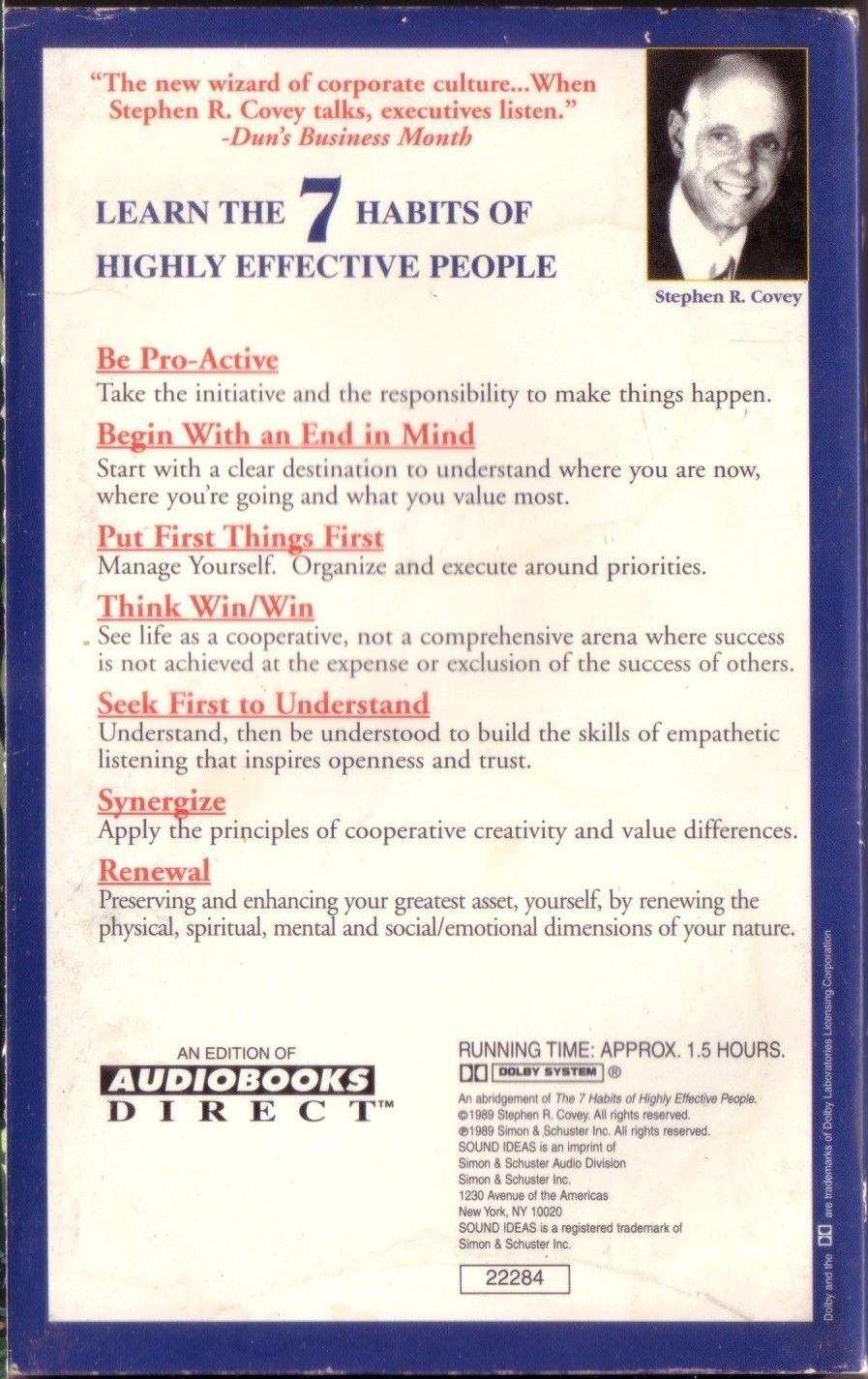 The 7 Habits of Highly Effective People Stephen Covey 1989 Cassette AudioBook