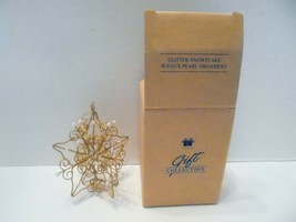 Avon Glitter Snowflake & Faux Pearl Ornament 1998 Gift Collection - $4.00