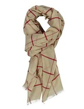 "Long Check/Plaid Scarf Lightweight 74.8""27.5"" beige 935 - $13.11"