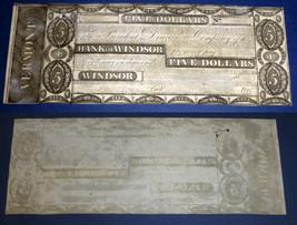 "WINDSOR,  ""VERMONT"" 1837  $5  Bank of Windsor - $98.01"