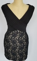Adrianna Papell Women's Size 10 Black Dress Floral Cap Sleeve Tan Lace F... - $59.39