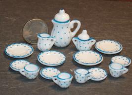 1 Set Dollhouse Miniature Teapot Plates Tea White Blue 1:12 inch scale - DL - $42.00
