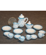 1 Set Dollhouse Miniature Teapot Plates Tea White Blue 1:12 inch scale - DL - $42.00