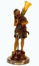 "25""H ""Girl Holding Cat"" Distinctive Classical Solid Bronze Sculptural La... - $881.02"