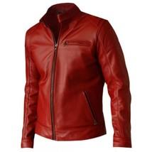 Men Cherry Red Biker Leather Jacket Coat For Men - $150.00
