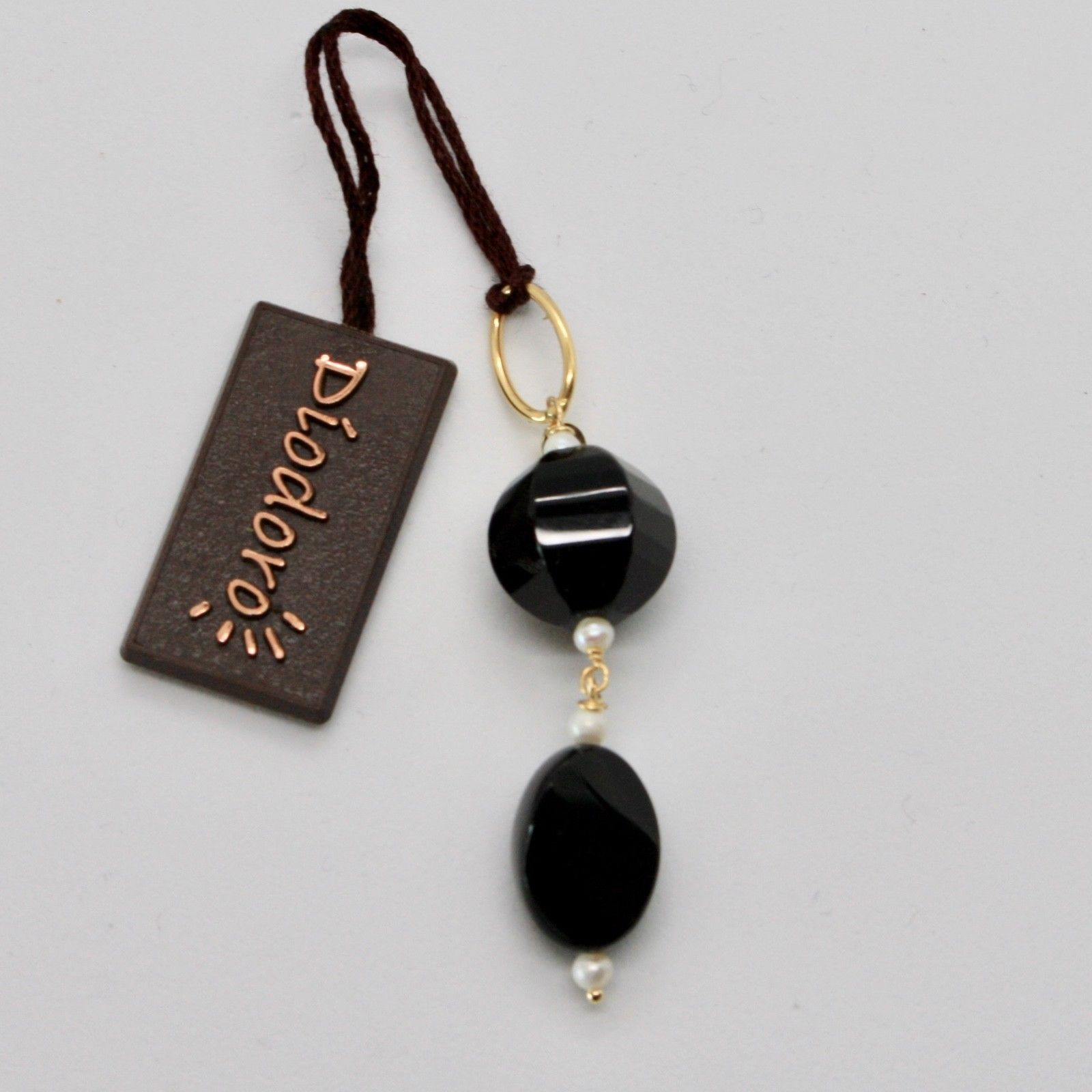 SOLID 18K YELLOW GOLD PENDANT WITH WHITE FW PEARL AND BLACK ONYX,  MADE IN ITALY