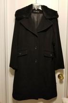 Dana Buchman Black Wool Coat, Real Fur Collar, Size 8, NWHT - $102.59