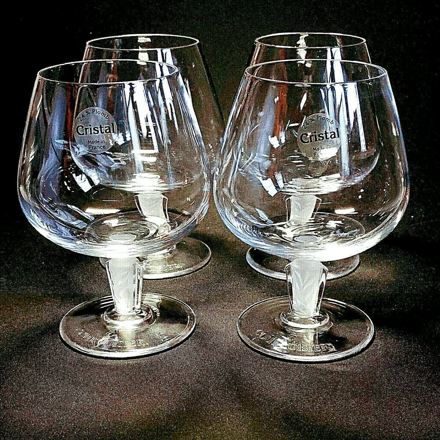 4 (Four) COURVOISIER CRYSTAL COGNAC GLASS / SNIFTER w Frosted Art Deco Stem