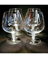 4 (Four) COURVOISIER CRYSTAL COGNAC GLASS / SNIFTER w Frosted Art Deco Stem - $52.24