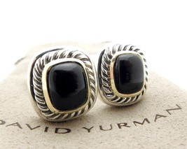 David Yurman Black Onyx Thoroughbred Earrings in Sterling Silver &14k Gold - $500.00