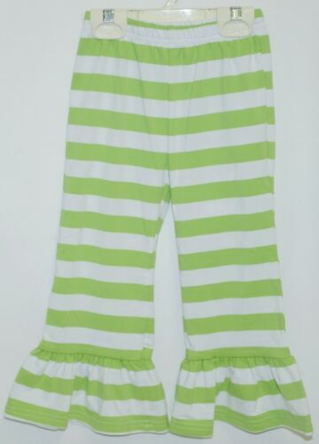 Blanks Boutique Girls Striped Ruffle Pants Color Green Size 2T