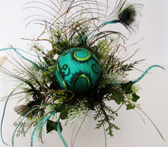 Peacock Feather Floral Arrangement in Pot with Teal Bulb Deco - $7.43