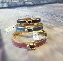 NWT COACH Signature Push Hinged Bangle Bracelet Jewelry Gold Blue Pink F... - $37.62+