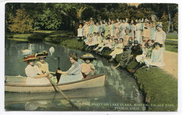 Picnic Party Boating Lake Clara Mineral Palace Park Pueblo Colorado post... - $6.44