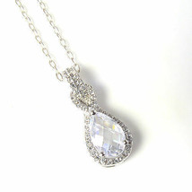Sterling Silver Pendant Made With Swarovski Pear Shape White Topaz  Elem... - $14.84