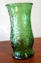 """Vintage Leaf Green Crinkle Leaf Design Glass Vase 9.5"""" 60's O L Brody USA - $14.85"""