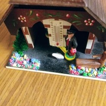 German Weather House with Black Forest Couple and Thermometer Hand Painted Flowe image 5