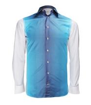 Zilli Men's White Blue Cotton Dress Shirt Regular Fit, size 38 (15) - $540.00
