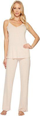 NWT New Designer Natori Pajamas Pink Tan Beige Womens PJ M Cami Pants Top Set