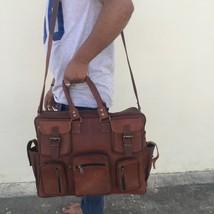 Big Men's Brown Vintage Genuine Leather Yoga Travel Luggage Duffel Gym Bags - $94.05