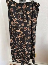 Talbots Floral Skirt SZ 14 Black/Reds/Gold Rayon - $1.99