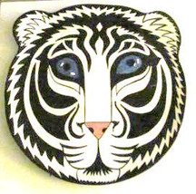 Nina Lyman 2001 Tiger Cat Handpainted Art Display Plate Platter Signed C... - $69.99