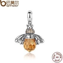 BAMOER Classic 925 Sterling Silver Orange Wing Animal Bee Pendants fit B... - $19.18