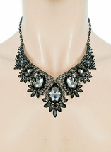 Vintage Classique Inspiré Soirée Collier Boucles Cristal Noir Costume Bijoux - $33.21