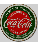 Coca Cola Thirst Coke Metal Sign Tin New Vintage Style Round USA  #1659 - $10.29