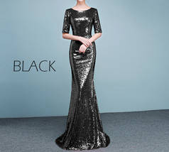 Half Sleeve Fit Gold Maxi Sequin Dress Wedding Party Maxi Gold Sequin Dress Gown image 13