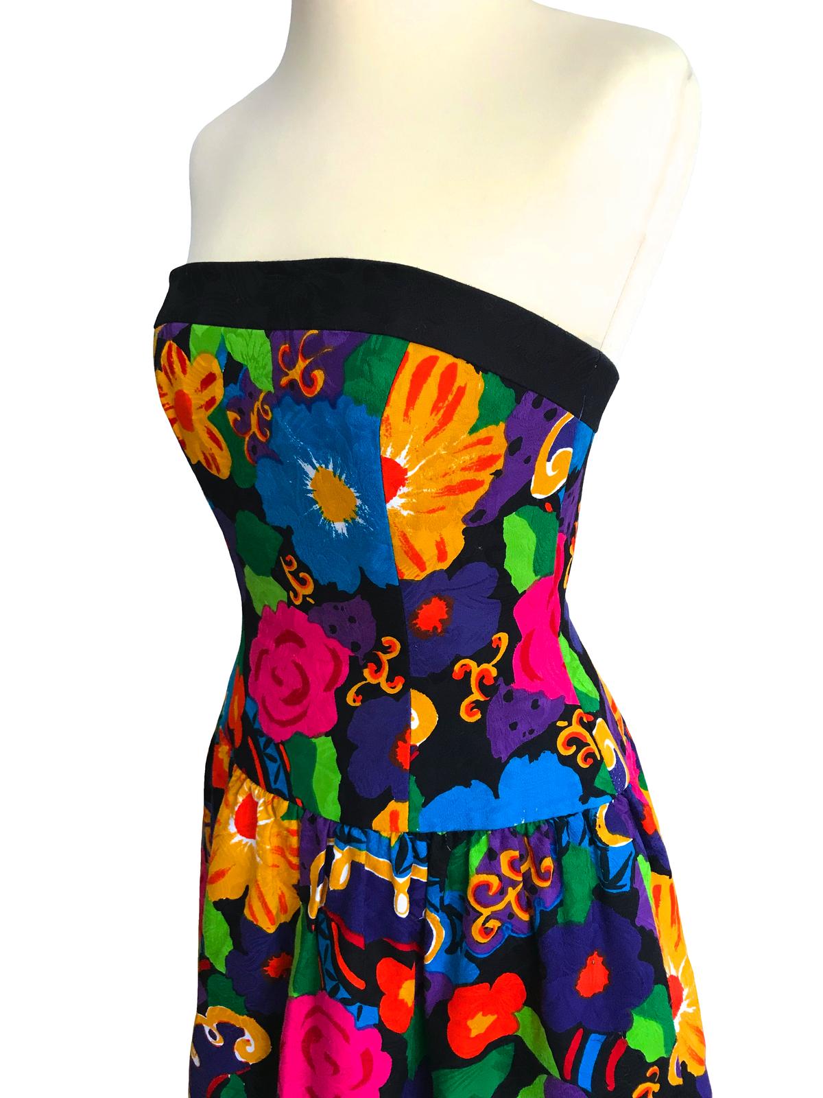 80s Vtg A.J. Bari Bold Color Textured Cotton Floral Print Strapless Corset Dress