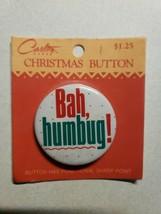 "Vintage Carlton Cards Christmas Button "" Bah humbug!"" Pinback New Sealed - $14.99"