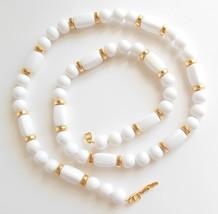 Ladies Vintage Napier White Bead Gold Tone Necklace 31 Inch - $10.00