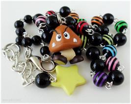 Super Mario Bros, Goomba Necklace, Colorful Rosary Chain in Silver - Gam... - $25.00