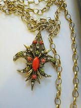 "VTG ART Fluer De Lis Pendant Necklace Enamel Flower Filigree Open Work 30"" Chain image 4"