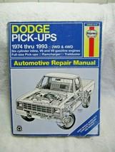 HAYNES Repair Manual #30040 DODGE Pick-Up/Ramcharger 1974-1993 2WD,4WD,I-6,V6,V8 - $22.50