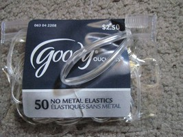 50 Goody Value Pack Clear Ouchless No Metal Small Poly Elastic Hair Bands Pouch - $4.00