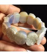 Natural Agate Cluster Crystal Rectangle Beads Bracelet Reiki Healing 57g... - $59.39