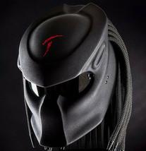 Predator Motorcycle Helmet Black Text Red Carving Matte (Dot & Ece Certified) - $250.00