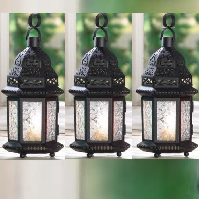 6 Lot Black Lantern Clear Glass Metal Candleholder Hanging Wedding Lanterns - $38.36