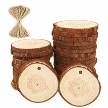 "Fuhaieec 30pcs 2.8-3.2"" Unfinished Natural Wood Circles with Tree Bark L... - $13.11"