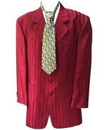 Vtg Falcone Satin Gangster Suit 3Pc Dark Red Stripes 46L 40W - $98.99