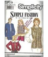 7019 Vintage Simplicity Nähmuster Misses Ungefüttert Weste Oop Nähen Ein... - $4.89