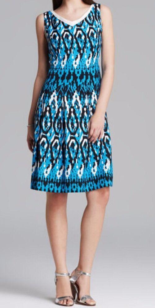 Anne Klein Dress Sz 12 Capri Blue Multi Sleeveless V-Neck Swing Career Cocktail